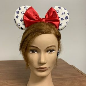 Mickey Ears Headband nautical bows. Minnie Mouse